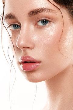 Beautiful woman portrait with fresh wet skin.