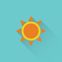 flat sun icon on blue background