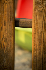 Wooden garden fence in early spring, close-up