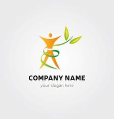 Logo Personnage Nature Icone Marque - Fitness Bien-être Nutrition Orange et Vert