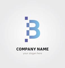 Logo Lettre b Icone Marque - Point Carrés Pixels en bleu