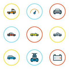 Car icons colored line set with car, speedometer, battery and other auto   elements. Isolated vector illustration car icons.