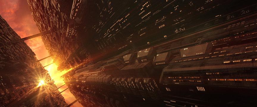 A 3D generated futuristic sci-fi city scene in an evening sunlight