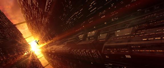 Wall Mural - A 3D generated futuristic sci-fi city scene in an evening sunlight