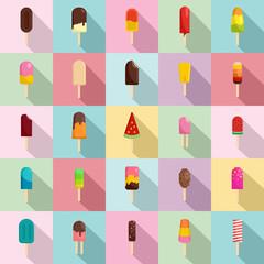 Popsicle ice cream stick icons set. Flat illustration of 25 popsicle ice cream stick vector icons for web