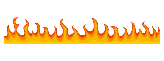 Fire flame banner horizontal. Flat illustration of vector fire flame banner horizontal for web design