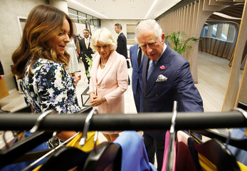 Britain's Prince Charles and Camilla, the Duchess of Cornwall, tour the new Tech Hub, in London
