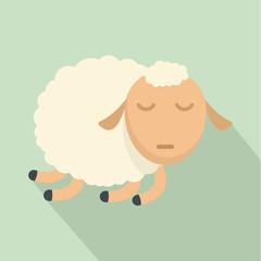 Sleeping sheep icon. Flat illustration of sleeping sheep vector icon for web design