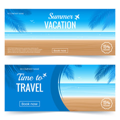 Summer vacation horizontal banner. Colorful Background with beach, palm leaves and sea. Travel offer template. Coupon with summer decoration. Vector eps 10.