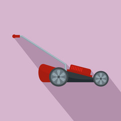 Red motor grass cutter icon. Flat illustration of red motor grass cutter vector icon for web design