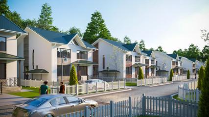 3D illustration of a cottage town