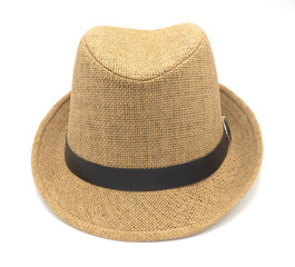 hat fasion vintage straw style  for man and woman  isolated on white background, for walk on the beach and protect sun