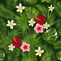 Tropical seamless pattern with exotic palm leaves and flowers.