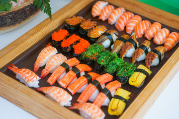 Sushi set on tray ready for eat