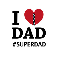 Father's day greeting card. I love dad. Heart with tie