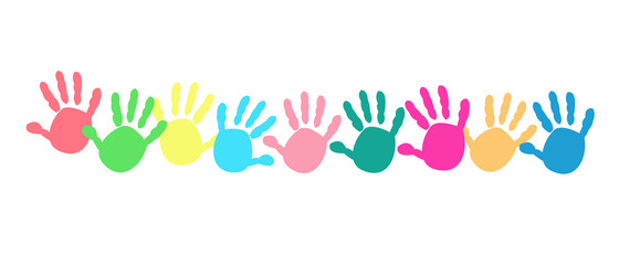 Colorful baby hand print vector background
