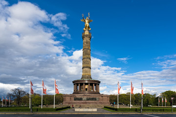 View of the Victory Column, a major tourist attraction in Berlin, Germany