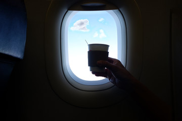 Hot Coffee in Airplane.