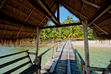 A wooden pier on the island of Koh Chang, Thailand.