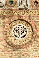 decoration on abbey nartex wall , Pomposa, Italy