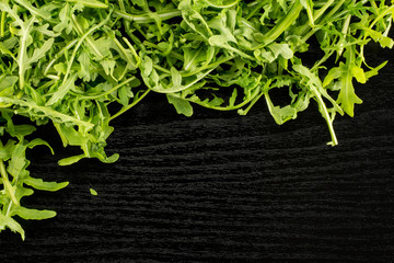Fresh arugula leaves flatlay isolated on black wood background.
