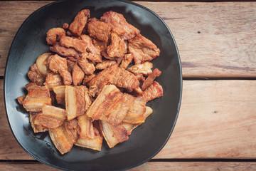Top view of Fried Pork Thai recipe.