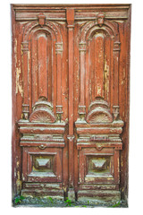 old vintage wooden door on isolated white background