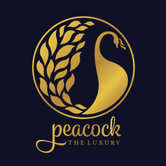 Gold peacock luxury circle logo sign vector design