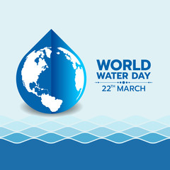 World water day banner with circle world map in blue water drop sign on water wave texture background vector design