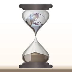 environnement - terre - sablier - compte à rebours - planète - écologie - climat - globe - concept
