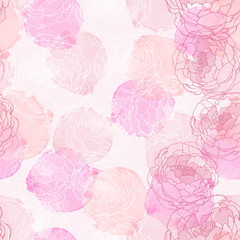 Abstract painting freehand watercolor seamless pattern with peonies. Graphic design for background, card, banner, poster, cover, invitation, placard, header or brochure. Hand drawn vector texture