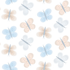 Tender seamless pattern with cute blue and pink butterflies. Gentle light color baby kids texture with butterfly for textile, wrapping paper, background, surface, cover, web design