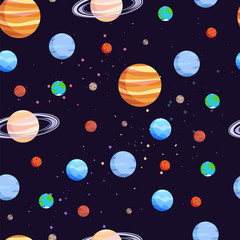 Space and Planets Pattern Vector Illustration