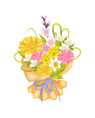 Attractive Bouquet with Varied Flowers, Color Card