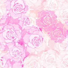 Abstract painting freehand watercolor seamless pattern with roses. Graphic design for background, card, banner, poster, cover, invitation, placard, header or brochure. Hand drawn vector texture