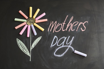 """""""Mother's Day"""" inscription on a chalkboard written in colored chalk"""