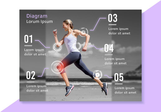 Fitness Diagram Layout with Purple Accents