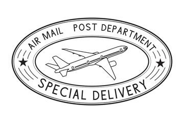 Postmark Special delivery. Black oval postal sign
