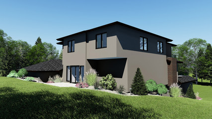 3D Illustration of Modern Mansion