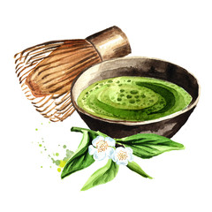 Organic Green Matcha Tea ceremony. Watercolor hand drawn illustration isolated on white background