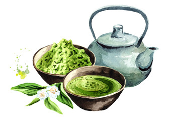 Organic Green Matcha Tea ceremony. Watercolor hand drawn illustration,  isolated on white background