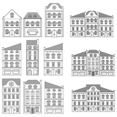 Houses. Collection of old european buildings. Outline drawing