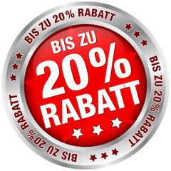 "Button ""Bis zu 20% Rabatt"" rot/silber"