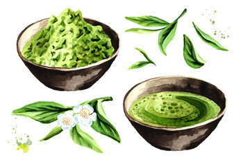 Organic green Matcha tea set. Watercolor hand drawn illustration,  isolated on white background