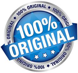 "Button ""100% Original"" Banner Blue/Silver"