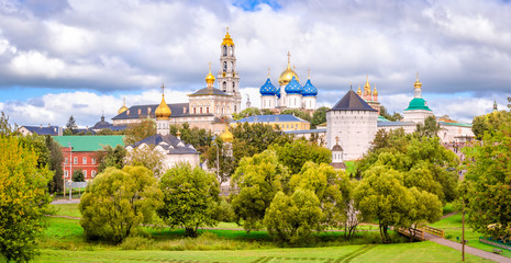 Panoramic view of the Holy Trinity St. Sergius Lavra in Russia - walled Orthodox monastery, founded by a 14th-century saint, with church frescoes dating from 1655.