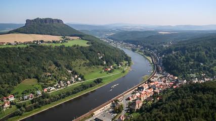 Elbe und Lilienstein, Blick von der Festung Koenigstein, Sächsische Schweiz