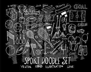 Hand drawn Sketch doodle vector line Sport element icon set on Chalkboard eps10