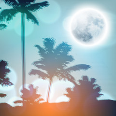 Landscape with palm trees and full moon at night. EPS10 vector.