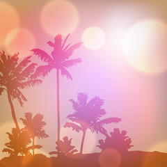 Fond de hotte en verre imprimé Rose banbon Sea sunset with island and palm trees. EPS10 vector.